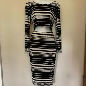 Black and White striped matching top + skirt